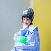 茉蒂菲莉 贝雷帽 手工编织刺绣方格羊毛毛线兔毛球贝雷帽子情侣针织保暖帽