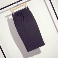 针织包臀裙 半身裙中长裙高腰系带松紧腰一步裙 深灰色 M