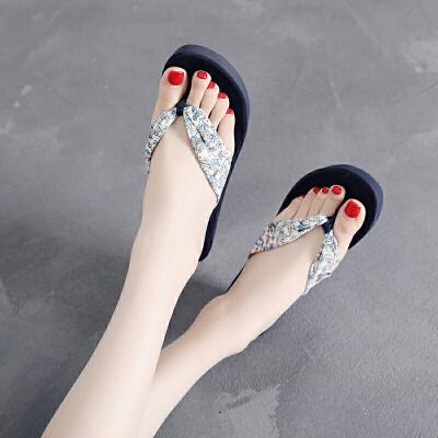 夏季碎花人字拖女韩版波西米亚沙滩鞋坡跟厚底防滑凉拖鞋外穿凉鞋  35 女款 时尚碎花设计,5.5厘米坡跟