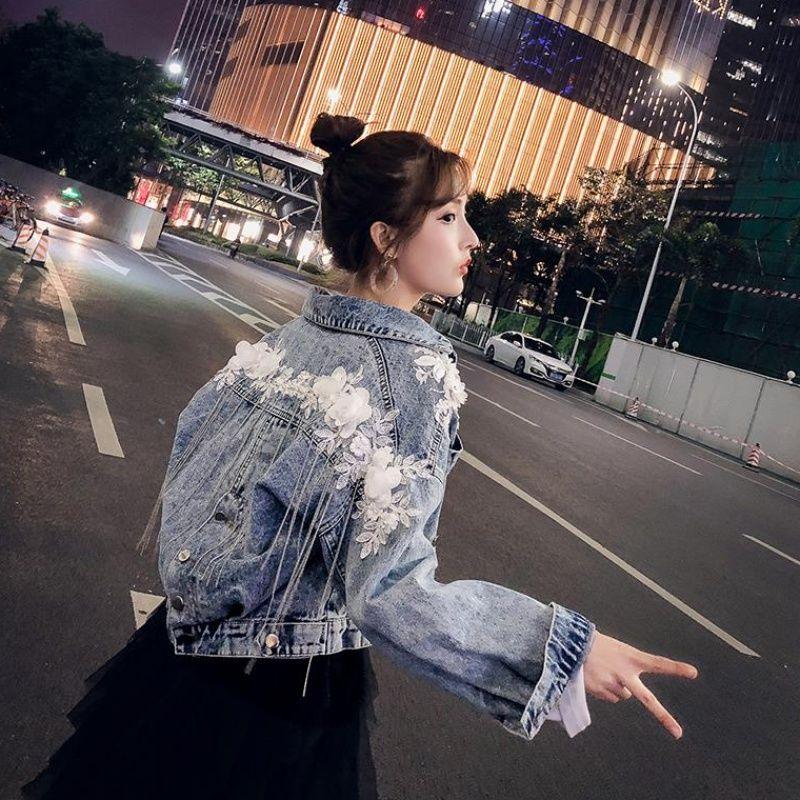 大码女装牛仔外套女200斤宽松胖妹妹韩版洋气短款上衣夹克学生潮 蓝色