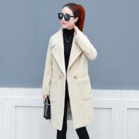 毛呢大衣女秋冬款2018新款小个子中长款韩版学生毛呢外套呢子大衣 米白 S