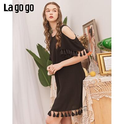 【5折价251】Lagogo/拉谷谷2019夏季新款镂空下摆流苏短袖连衣裙IALL335A40