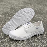 夏季时尚帆布鞋小白鞋男韩版百搭低帮夏季透气布鞋休闲板鞋厚底户外工装鞋