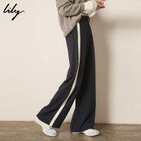 Lily冬新款女装时髦撞色拼色粗条纹阔腿裤118449C5937