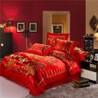 婚庆床品 龙凤百子图四件套 大红色丝绸缎结婚被套家纺床上用品