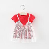 童装女宝宝T恤女童打底衫2018新款夏装短袖衣服0-3岁韩版婴儿上衣 红色 短袖上衣