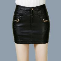 PU皮短裙2018秋冬新款韩版女士皮裙修身包臀裙显瘦半身裙一步裙 黑色