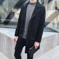 2018新款秋冬季外套男加绒加厚呢子大衣男士中长款风衣韩版修身帅 黑色