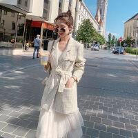 西装外套女春秋2019韩版宽松学生小西服白领职业装工作服 米白色