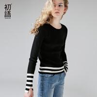初语2017秋季新款 圆领撞色条纹开叉修身毛衣女紧身打底针织衫