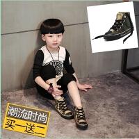 春季迷彩高帮儿童帆布鞋男童系带鞋子