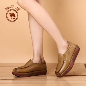 骆驼牌女鞋 秋冬季复古手工鞋 松糕底平跟休闲鞋套脚单鞋