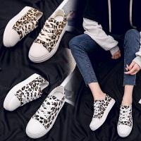 低帮帆布鞋女学生韩版百搭复风2019春季豹纹板鞋