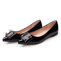 2019春季新款单鞋女浅口百搭尖头软底瓢鞋漆女鞋子 黑色 【偏大一码】