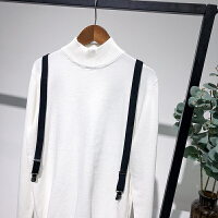 原创半高领毛衣男士针织衫修身长袖青年可拆卸背带绅士风度秋季新