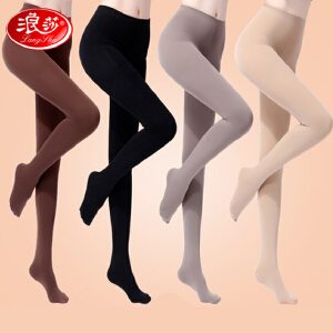 2双浪莎显瘦丝袜连裤袜防勾丝薄款春秋季中厚黑色肉色女连体打底裤袜