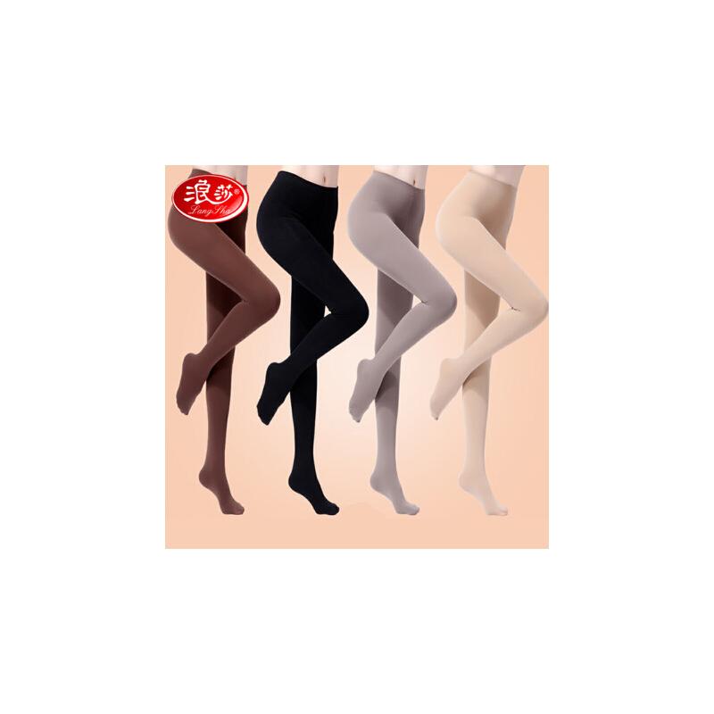 2双浪莎显瘦丝袜连裤袜防勾丝薄款春秋季中厚黑色肉色女连体打底裤袜连显瘦体打底裤袜