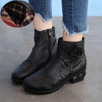 舒适好看!时尚新品新款真皮粗跟女鞋民族风短靴加绒女靴真皮手工复古牛皮短靴女青春靓丽