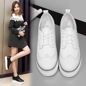 ZHR2018春季新款英伦厚底休闲鞋布洛克平底单鞋真皮内增高女鞋B23
