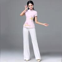 2018新品改良旗袍阔腿裤两件套唐装套装女夏复古中式工作装中国风短袖上衣