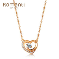 罗曼蒂珠宝白18K金钻石套链结婚订婚项链 爱心型群镶钻精致套链 需定制