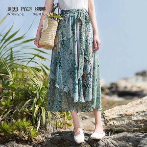 烟花烫 沙滩裙女夏2018新款复古系带印花雪纺裙中长半身裙 思茂