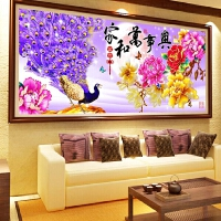 客厅大幅装饰画家和万事兴孔雀点钻十字绣钻石画古典花开富贵满钻