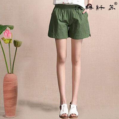 夏季韩版新品棉麻阔腿裤女士修身显瘦休闲裤大码松紧腰短裤女装