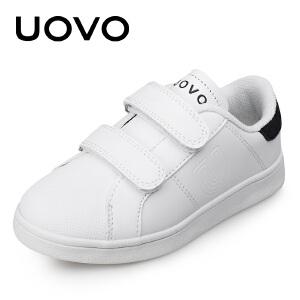 UOVO童鞋儿童运动鞋 中大童男童鞋白色搭扣休闲鞋女童新款 萨尔斯