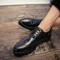 增高鞋男男士皮鞋男英伦韩版系带内增高婚鞋尖头潮男夜店发型师鞋个性 旭日升 68219黑色