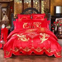 婚庆床品 结婚用品大红绣花四件套六件套全棉贡缎提花多件套 2.0 十件套