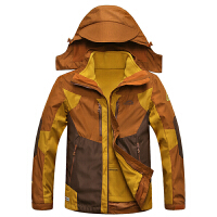 15C231冬装新款豹迹内胆可脱卸男士冲锋衣外套 防风防寒保暖男装
