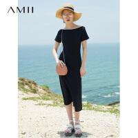 【AMII 超级品牌日】Amii[极简主义]2017夏新品休闲修身短袖连衣裙  11762569