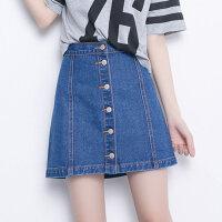 大码女装韩版牛仔裙半身裙2017夏季新款单排扣A字裙高腰显瘦短裙fr1620