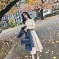 2018秋冬季新款法式气质桔梗毛衣长裙过膝复古针织连衣裙打底冬裙 奶茶色 S