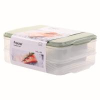 乐扣乐扣密封保鲜盒冰箱冷冻分隔饺子盒大容量储物收纳盒 薄荷绿【3.4L X2】