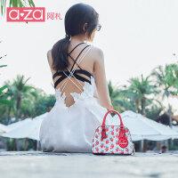 aza女包2019夏季新款ins韩版可爱甜美草莓单肩手提包斜挎包贝壳包
