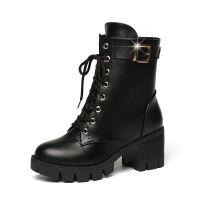 短靴女春秋冬季雪地靴加绒2019新款高跟鞋粗跟女靴马丁靴子女鞋子