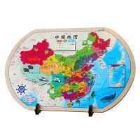 AR大号中国地图拼图儿童益智百科地图高清防水行政地图双面省份简图益智玩具中小学生学习地理知识实木材质