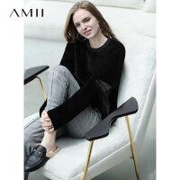 Amii极简pp home慵懒加厚卫衣女洋气冬新款圆领镂空加绒套头上衣