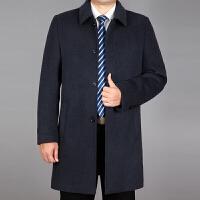 秋冬季中老年男毛呢大衣中长款翻领中年男羊毛外套羊绒风衣爸爸装