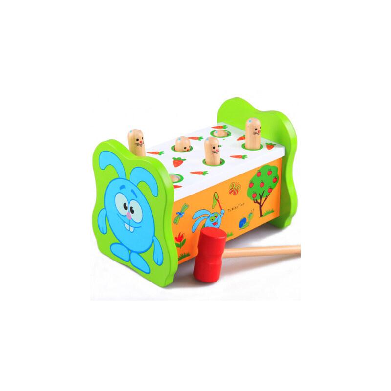 幼得乐正品 儿童益智打击玩具地鼠敲击果虫 木制大号早教敲打玩具
