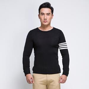 韩版修身潮圆领针织衫秋全织时代男装开叉纽扣长袖T恤条纹打底衫