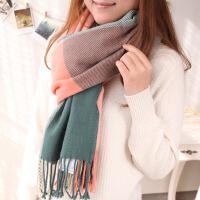 №【2019新款】冬天美女带的 韩版女士围巾大规格毛线格子围巾披肩两用