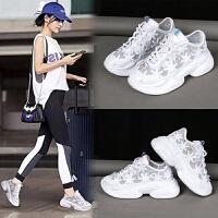 蕾丝网面鞋夏水钻厚底松糕坡跟鞋子女学生韩版老爹鞋运动鞋女鞋 白色