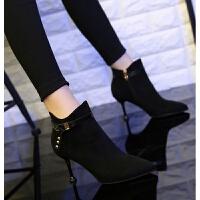 201909230132481102019秋冬新款高跟细跟短靴韩版时尚百搭猫跟尖头黑色绒面马丁靴女