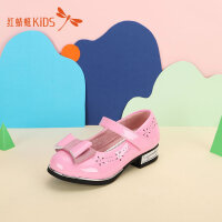 【1件2.5折后:44.75元】红蜻蜓童鞋春秋可爱蝴蝶结装饰低跟亮面女童儿童小皮鞋
