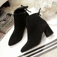 同款百搭短靴女秋冬新款百搭马丁靴女踝靴尖头粗跟高跟鞋靴子