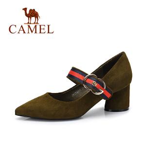 Camel/骆驼女鞋 2017秋季新款 复古高跟单鞋女舒适粗跟优雅女鞋