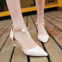 大东同款同款夏季新款高跟细跟尖头侧空韩版女鞋性感低帮鞋时尚女凉鞋单鞋